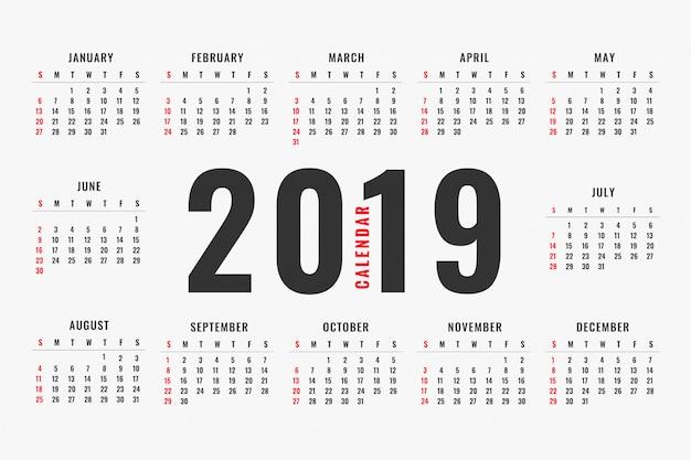 Простой дизайн макета календаря 2019