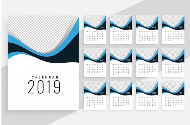 スタイリッシュな波状の2019カレンダーデザイン