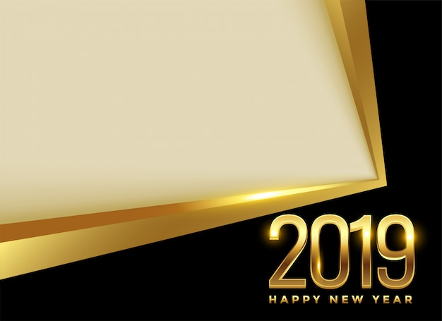 Золотой 2019 новый год фон с текстовым пространством