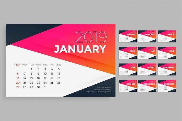 Современный шаблон дизайна календаря 2019 года