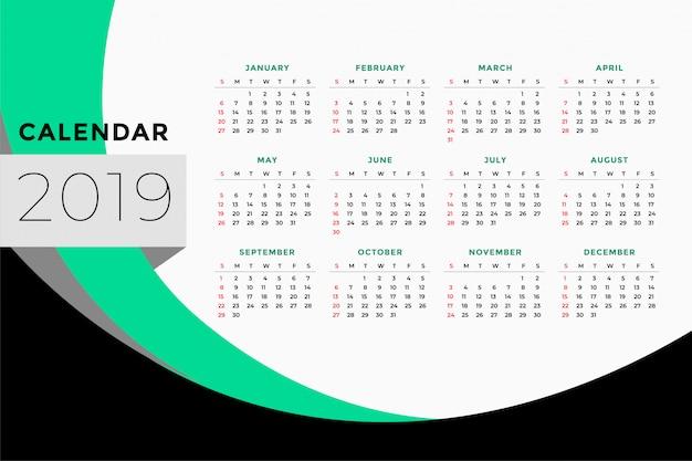 2019年のカレンダーテンプレートデザイン