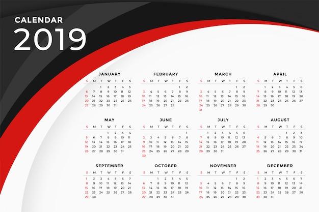 2019モダンレッドウェーブカレンダーテンプレートデザイン