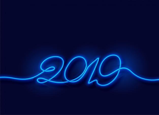 2019幸せな新年ネオン青い光の背景
