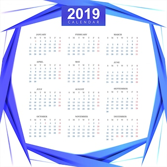 カレンダー2019ウェーブ背景付きテンプレート