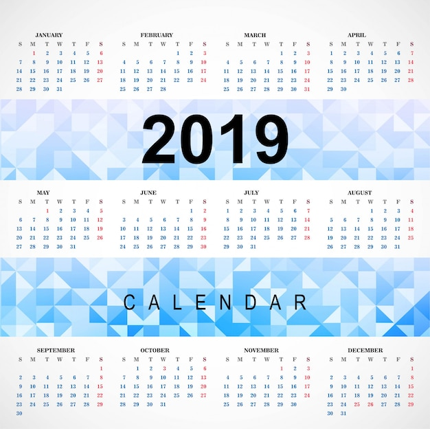 2019 красочный календарь с полигоном шаблон вектор