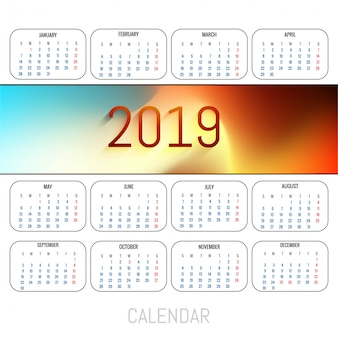 抽象的なカレンダーカラフル2019テンプレートの背景