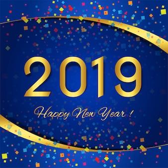 С новым годом 2019 открытка празднования красочный фон