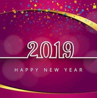2019幸せな新年のテキストカラフルな光沢のある背景