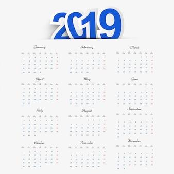 Календарь 2019 вектор дизайна шаблона