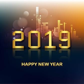Празднование 2019 года красочный с новым годом фон вектор