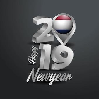 С новым годом 2019 серый типография