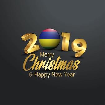 Маврикий флаг 2019 счастливого рождества типография
