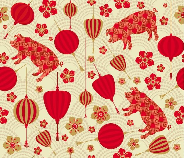 中国の新年2019十二月のシームレスなパターン豚の年。