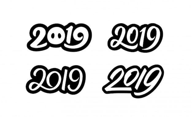 Набор наклеек с новым годом 2019 с каллиграфическими номерами
