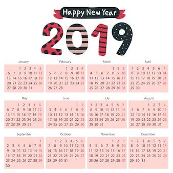 カレンダー2019ベクターデザイン