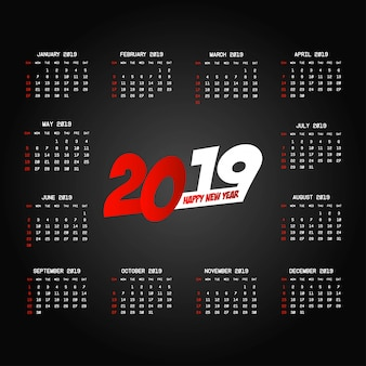 2019カレンダーデザイン、黒背景ベクトル