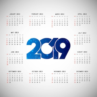 2019カレンダーデザイン、明るい背景ベクトル