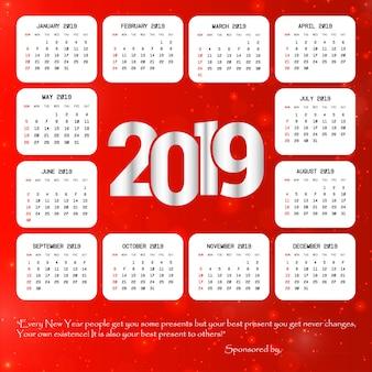 赤い背景ベクトルと2019カレンダーのデザイン
