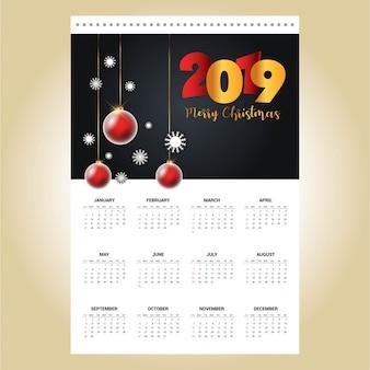 2019クリスマスカレンダーデザインベクトル