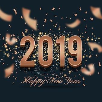 2019年新年のお祝いのバックラウンドデザイン