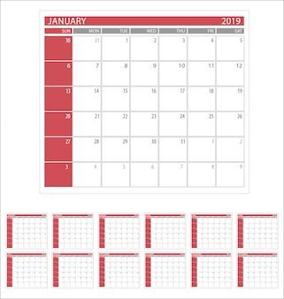 カレンダープランナー2019年シンプルな最小限のデザインテンプレート