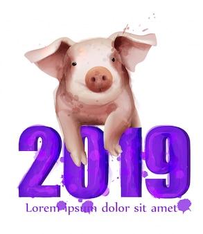 Открытка на 2019 год с акварельной свиньей