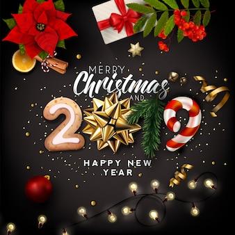 クリスマスと新年2019クリエイティブな背景