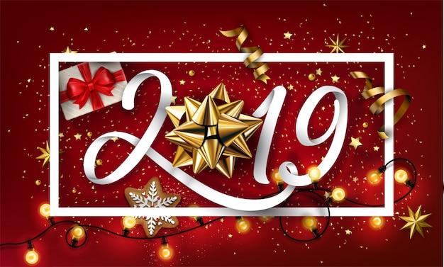 新年2019クリエイティブな背景と弓