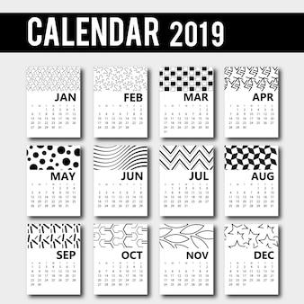 ベクトル2019カレンダーデザイン