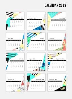 現代風のカレンダーシート2019
