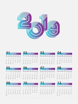 新年カレンダー2019現代デザイン