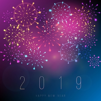 Реалистичные фейерверки новый год 2019 фон