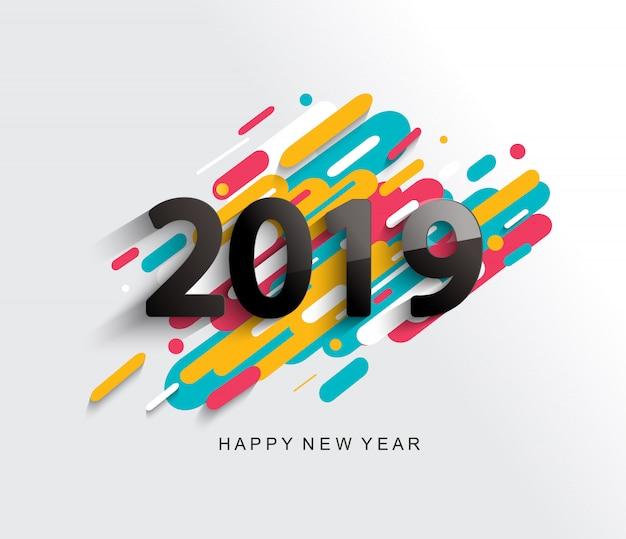 創造的な幸せな新年2019カード