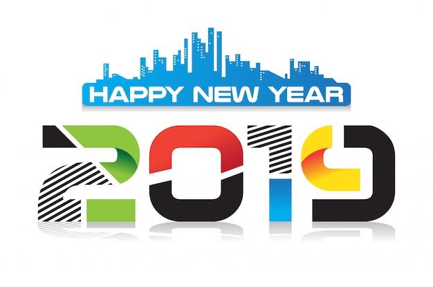 С новым годом 2019 современный дизайн плаката