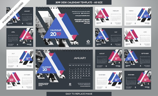 デスクカレンダー2019テンプレート