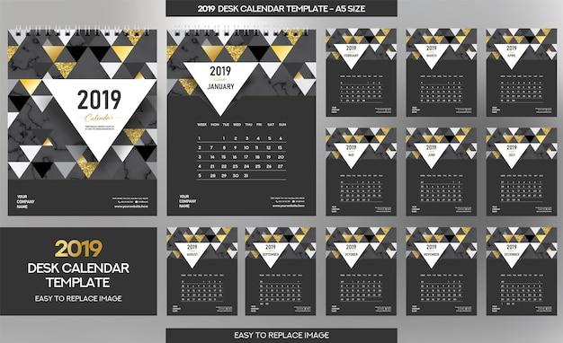 大理石の机のカレンダー2019のテンプレート