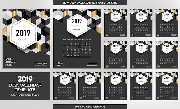 Мраморный календарь для рабочего стола 2019