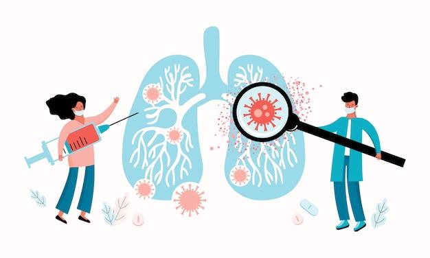 Новый коронавирус 2019-нков. медицинский работник и врач диагностируют и лечат легкие человека на предмет вирусной инфекции.