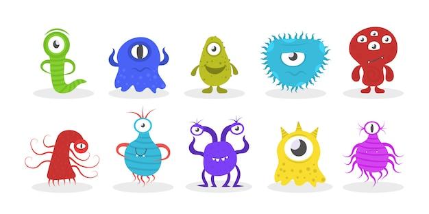 Новые коронавирусные бактерии 2019-нков. мультипликационные бактерии, микробы, вирусы и микробы. набор забавных мультяшных монстров с разными эмоциями. коллекция забавных персонажей.