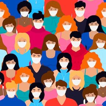 Коронавируса. новый вирус 2019-нков. понятие карантина, предотвращения заражения. группа людей в белых защитных масках бесшовные модели.