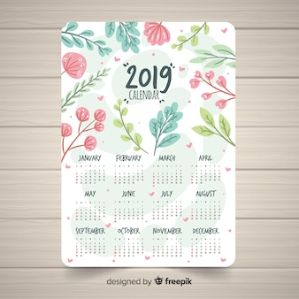 花のスタイルと素敵な2019カレンダーテンプレート