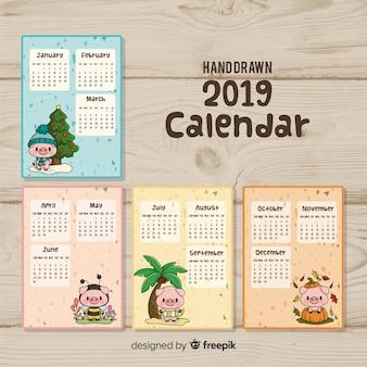 手描きの新年2019カレンダー