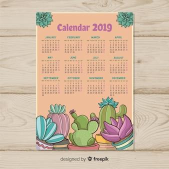 Нарисованный новый год 2019 календарь