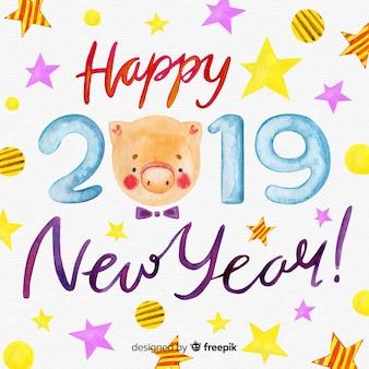 Прекрасная акварель нового года 2019 года