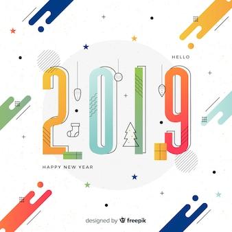 フラットデザインの現代新年2019コンポジション