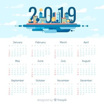 フラットデザインのモダン2019カレンダーテンプレート