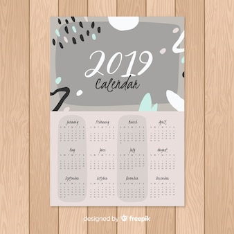 Современный шаблон календаря 2019 с абстрактными формами