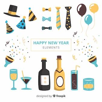 2019年新年のパーティー要素セット