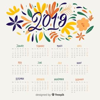 花の抽象的なカレンダー2019