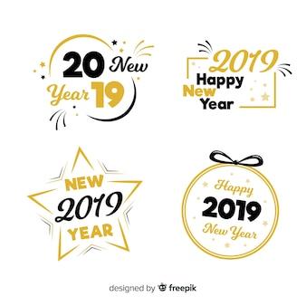 Новый год 2019 г. коллекция этикеток и значков